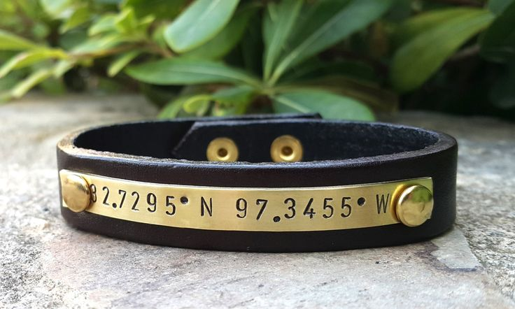 Mens Personalized Leather Bracelet, Genuine Leather Hand Stamped Brass Plate GPS Coordinates Bracelet, Men's Jewelry, Anniversary Gift