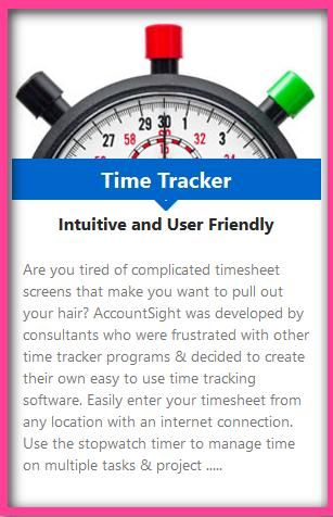 Are you tired of complicated timesheet screens that make you want to pull out your hair? AccountSight was developed by consultants who were frustrated with other time tracker programs & decided to create their own easy to use time tracking software.  http://www.accountsight.com/  #Invoicing #Billing #TrackingSoftware