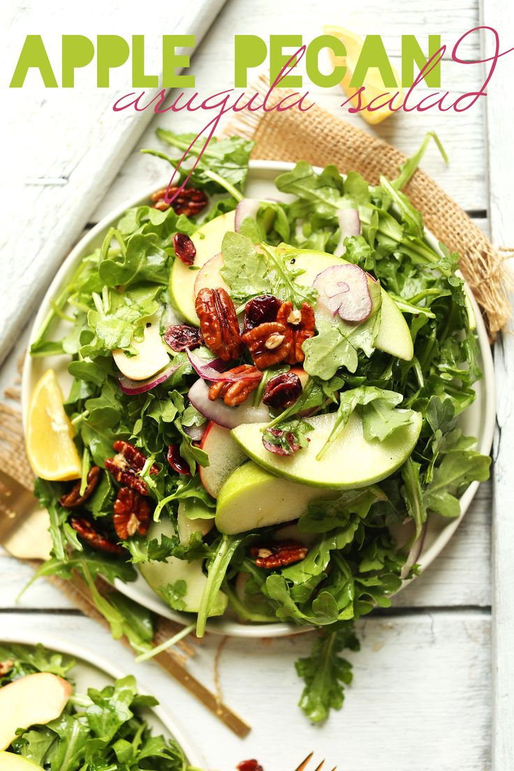 Simple Easy Apple Arugula Salad with Pecans and Lemon Vinaigrette - A healthy, hearty side dish for Fall and Winter.