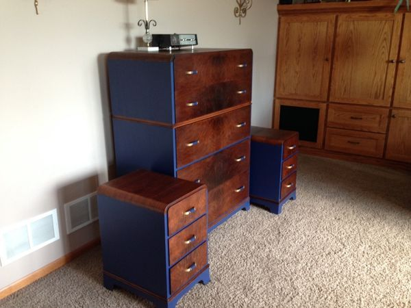 Vintage art deco dresser and two night stands by dorris heyman