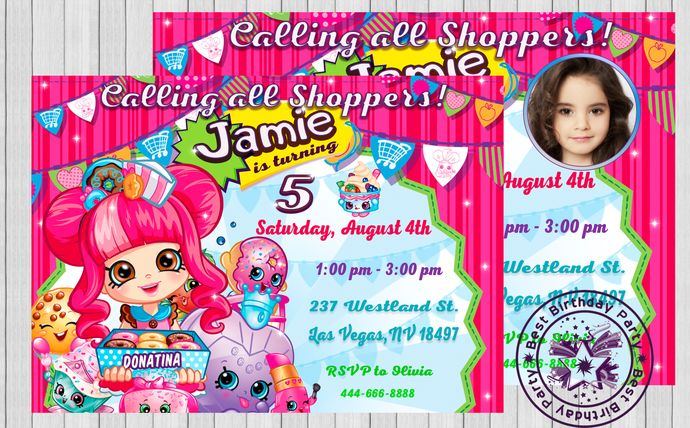 Shopkins Invitations Custom Birthday Invitation Design Cards Invites Thank