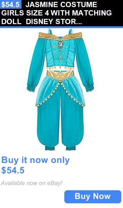 Halloween Costumes Kids: Jasmine Costume Girls Size 4 With Matching Doll Disney Store New BUY IT NOW ONLY: $54.5