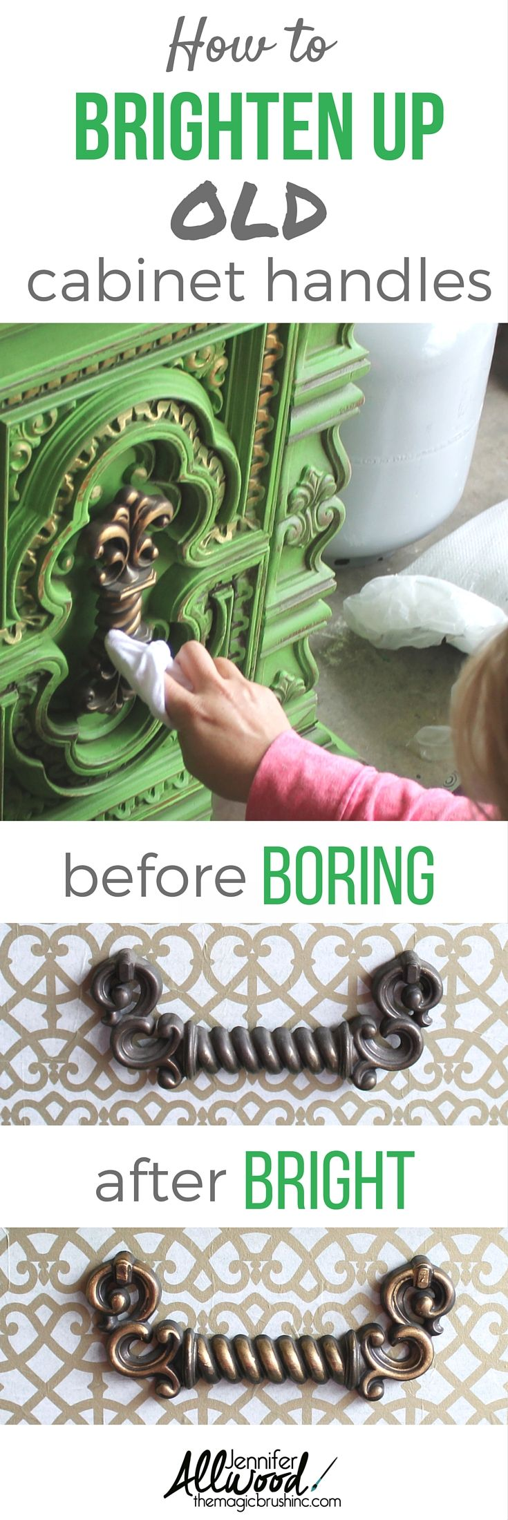 Give your furniture a facelift with revived handles! Here's how to brighten up dingy, old cabinet handles with Rub and Buff. More painting tips, DIY projects and furniture inspiration from theMagicBrushinc.com