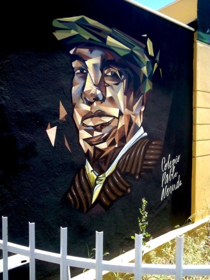 Grafiti in valparaiso , streetart, painting, art, pablo neuruda, the most famous poet of chile