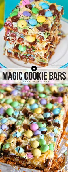 Spring Magic Cookie Bars. Such a quick and easy dessert that's great for Easter.  Love this recipe!