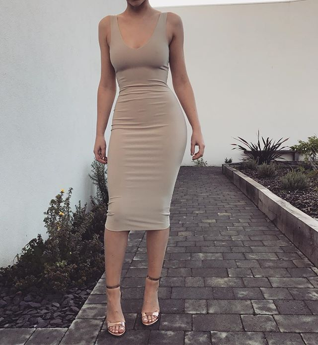 Our 'Tana' midi dress in nude tan // also available in black // www.boomboomthelabel.uk