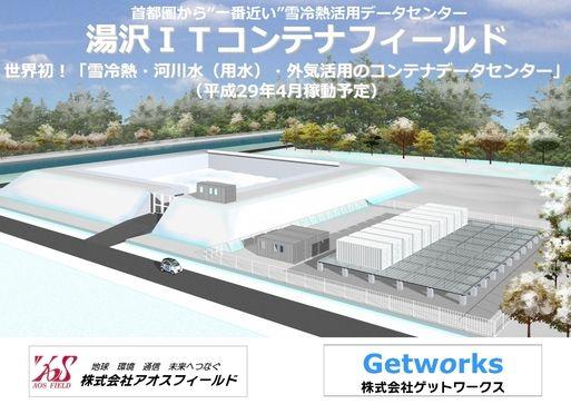 アオスフィールドとゲットワークス、 湯沢町に再エネ活用のデータセンターを新設 ~ 世界初!雪冷熱・河川水(用水)・ 外気活用の省エネ型コンテナデータセンター ~ 「湯沢ITコンテナフィールド」(2017年4月竣工予定)