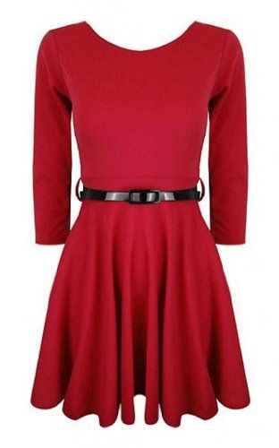 """3/4 Sleeve Skater Dress Has A Scoop Neck With Elasticated Waist Detachable Belt Included This Flared Style Dress Can Be Worn Casual Or Party Wear,Light Weight And Has A Soft Stretchy Fabric, Material: 95% Polyester 5% Elastane, Approx Length:31"""""""
