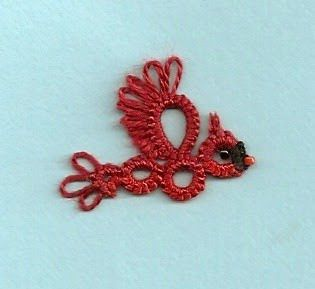 Ambitatterous: Tatting Tea Tuesday: Motif # 21 Red Bird
