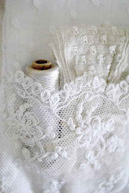 ♕ Lace love - I would like to try embroidery on netting