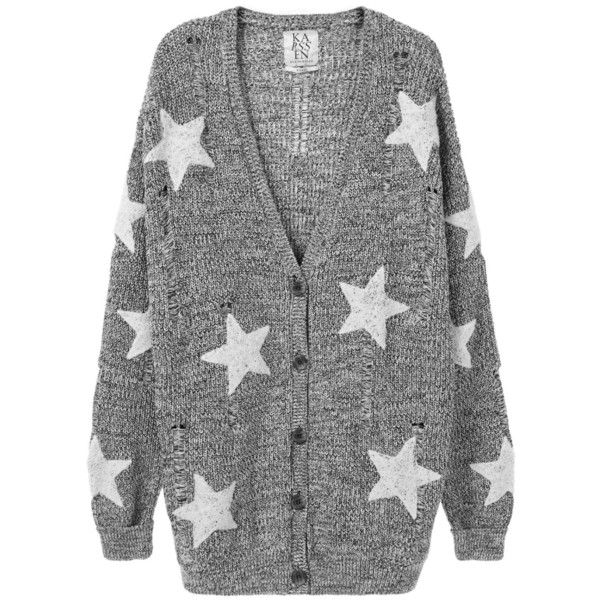 BOUCLÉ STAR PATCHES OVERSIZED CARDIGAN ($145) ❤ liked on Polyvore featuring tops, cardigans, slouchy tops, relaxed fit tops, black white top, button front cardigan and button front tops