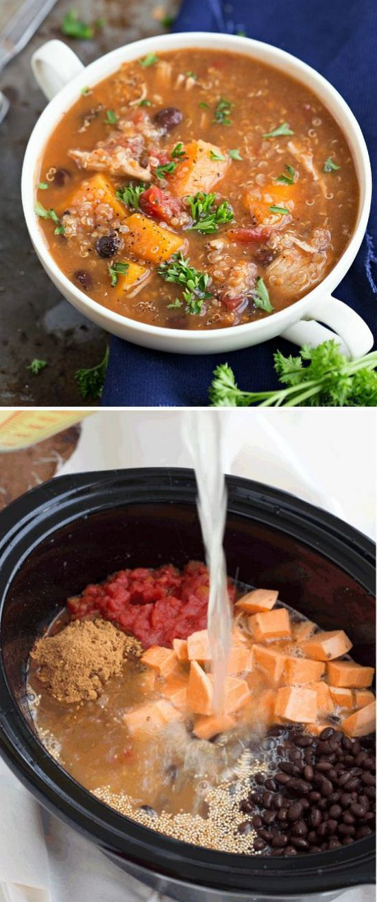 (Slow Cooker) Sweet potato, chicken, and quinoa soup | Foodboum