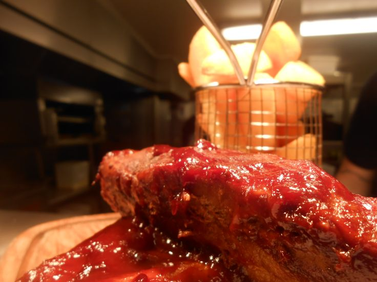 BBQ pork ribs with house chips & red cabbage & cumin coleslaw £10.50