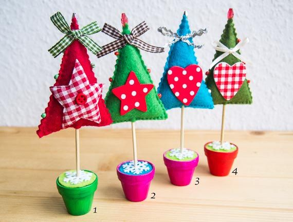 Enchanted forest -Whimsical Felt Christmas Trees with Gingham Polka Dots Waldorf Inspired Christmas Decorations - via Etsy.
