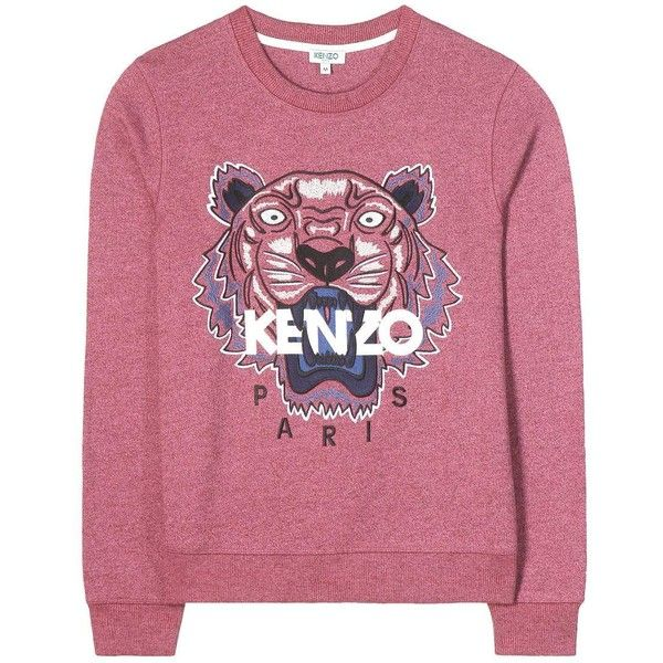 Kenzo Embroidered Cotton Sweater (289 AUD) ❤ liked on Polyvore featuring tops, sweaters, pull, purple, sweatshirts, purple top, kenzo sweater, embroidered sweaters, red top and red sweater