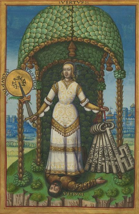 Virtue trampling Vice. Bibliothèque nationale de France, Français 12247, f. 2v Traité des vertus, de leur excellence, et comment on les peut acquérir. France, early 16th century.