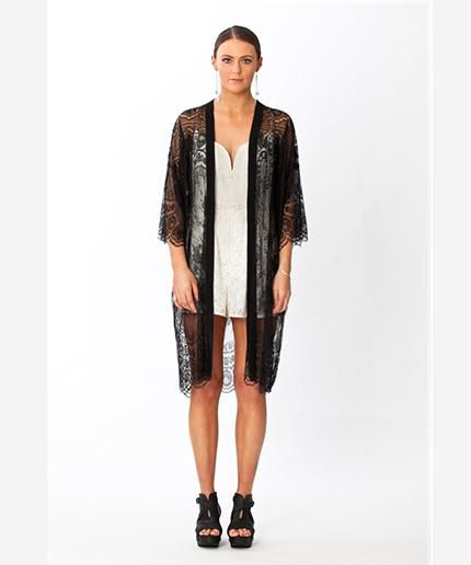 Gorgeous black lace and silk kimono. Day, evening, beach, bedroom.