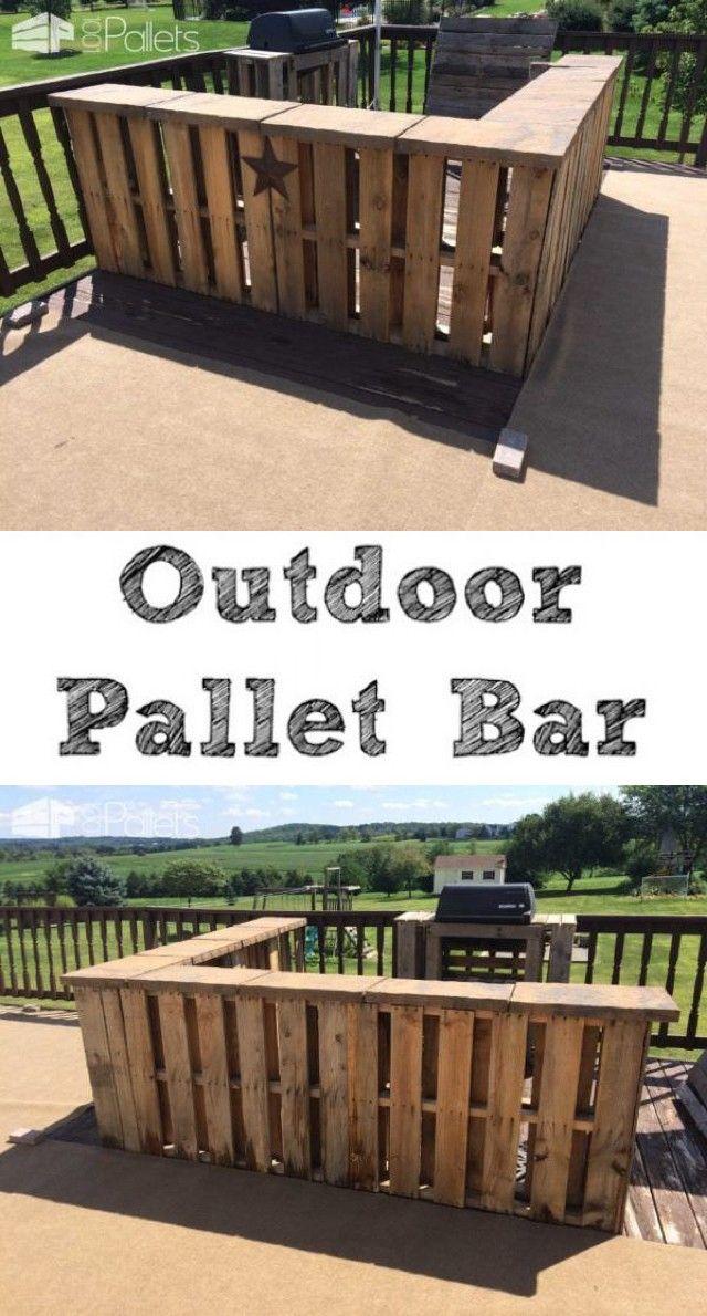 Best 25 outdoor pallet bar ideas on pinterest pallet for Pallet furniture bar
