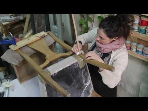 Técnicas de restauración I : Grieta en el respaldo de una silla - YouTube