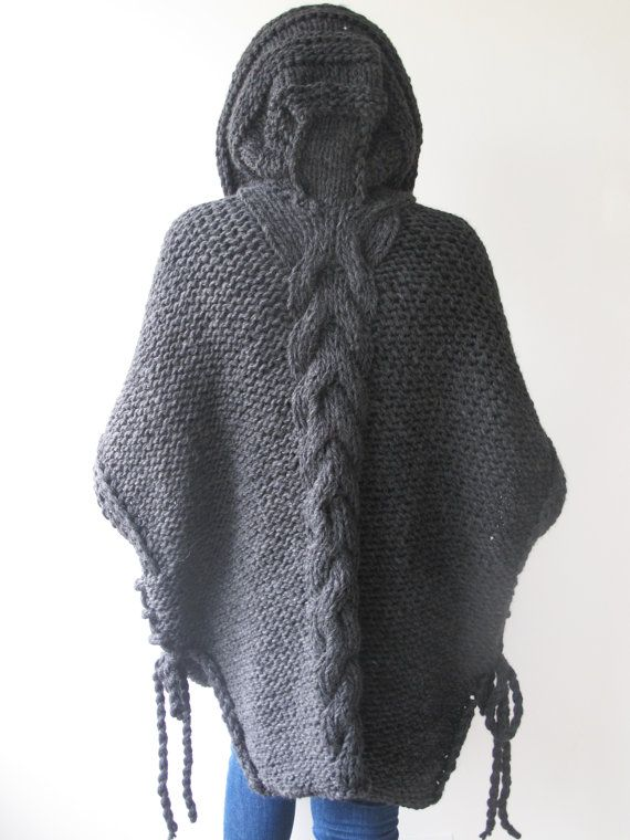 Dark Gray Plus Size Cable Knit Poncho with Hoodie by Afra by afra