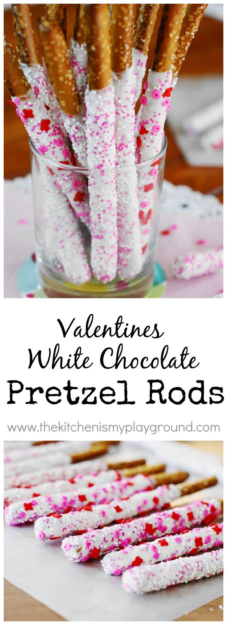 Valentines White Chocolate-Dipped Pretzel Rods ~ so pretty, and so easy.   www.thekitchenismyplayground.com