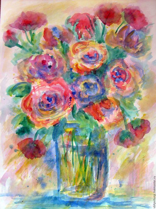 """Картины цветов ручной работы. Ярмарка Мастеров - ручная работа. Купить Картина акварелью """"Букет роз с маками"""". Handmade."""