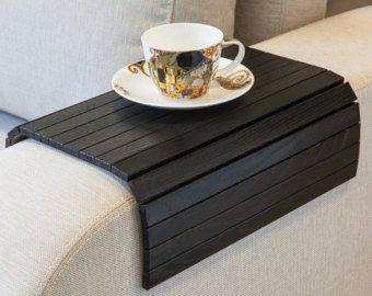 Sofa Tray Table black, TV tray, Wooden Coffee table, Lap desk for small spaces