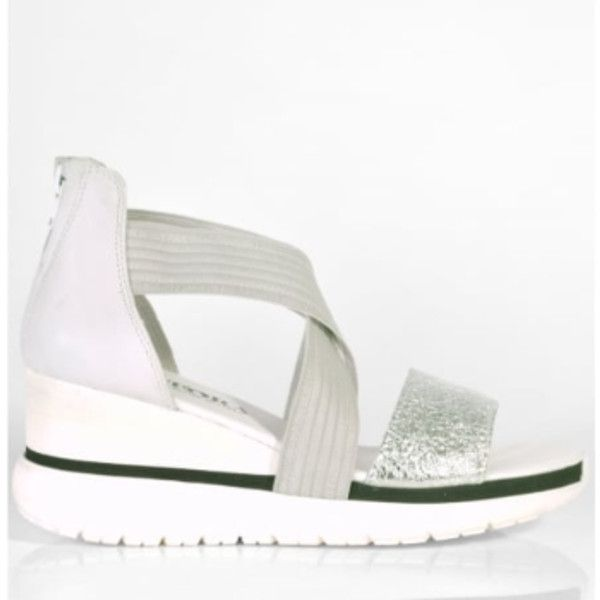 Silver Candy Wei Platform Wedge Shoes ($110) ❤ liked on Polyvore featuring shoes, sandals, silver wedge sandals, zip shoes, platform wedge sandals, wedges shoes and silver sandals