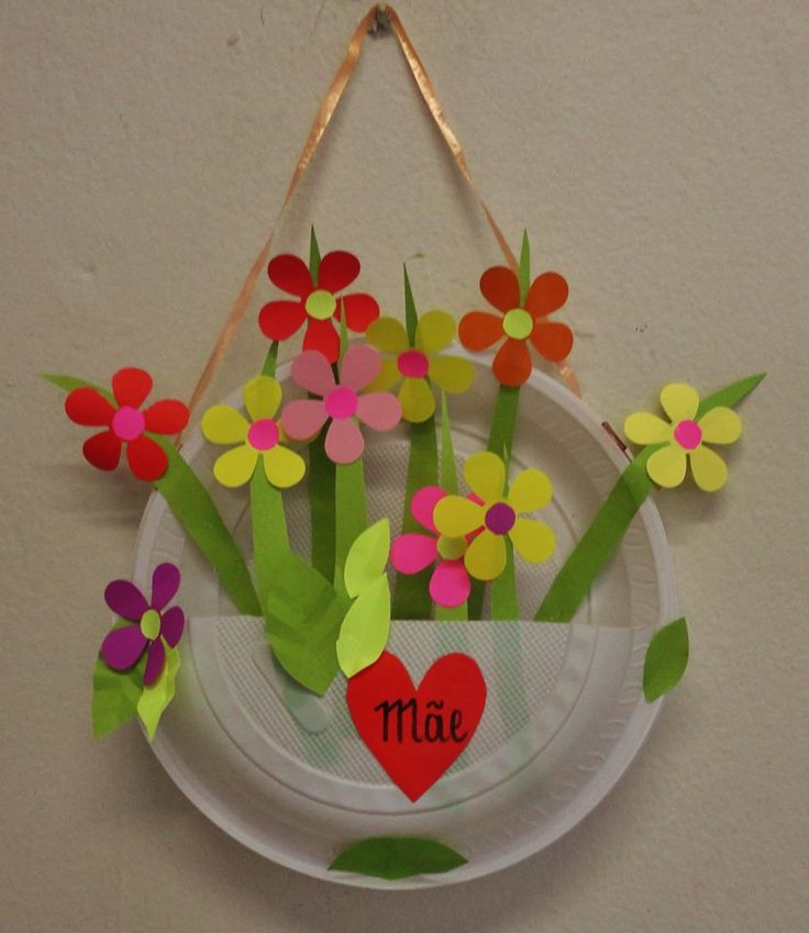 Paper plate flower basket for spring.