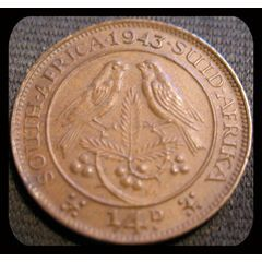 1943 Quarter Penny 1/4 D South Africa *AU* for R7.00