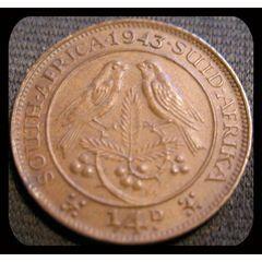 1943 Quarter Penny 1/4 D South Africa *AU* for R7.00