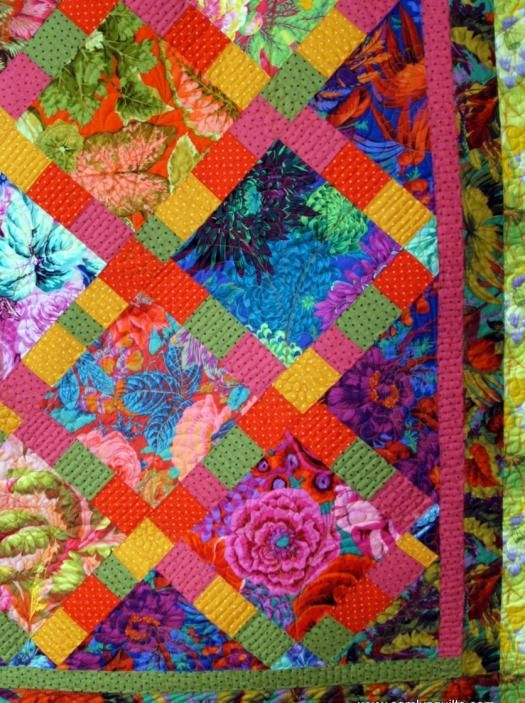 "Picture 8 of  Large Lap Quilt ""Color Garden"" - another Kaffe Fassett idea."