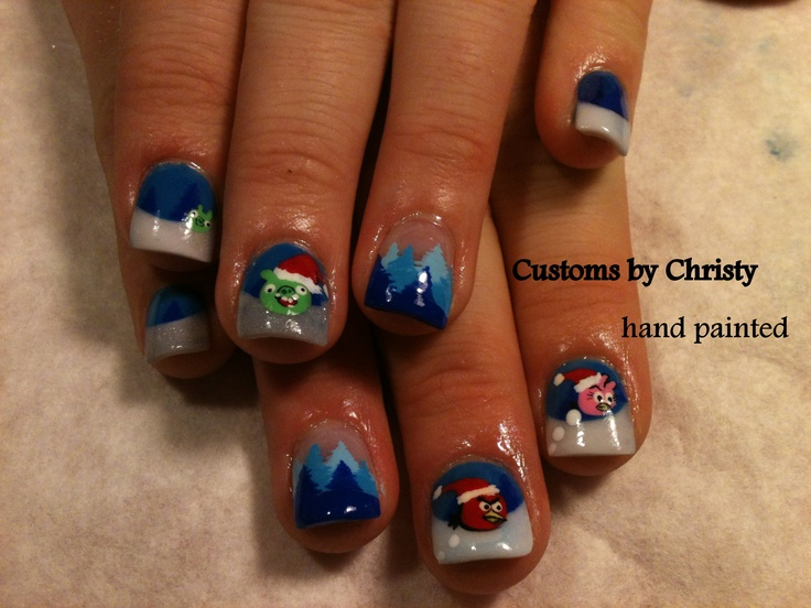 hand painted acrylic nails angry birds.  customs by christy davis