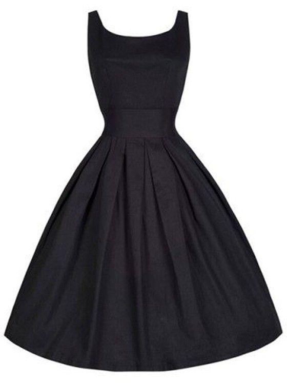 Black Plain Pleated Sleeveless Scoop Neck Hepburn Retro Vintage Dress   .