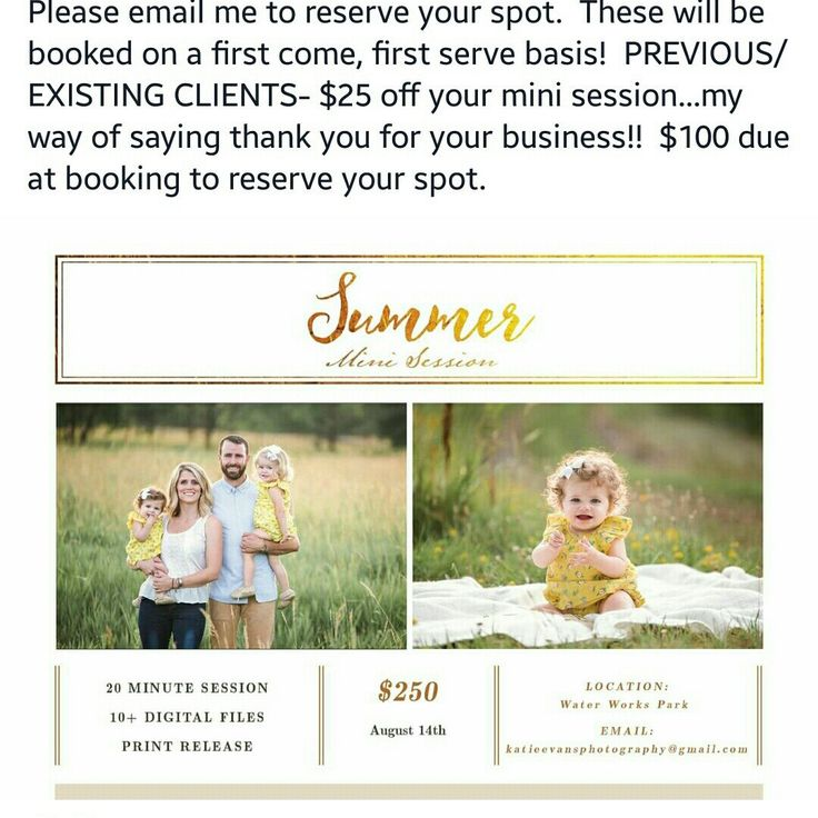 """We spotted again, our customer using """"Summer Mini Session Template"""" from Bellenity Design. I'm feel so proud of her. Let's support our talented photographer Katie Evans Photography. Wishing you success!"""