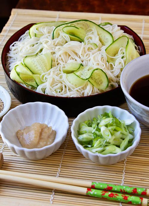 Hiyashi somen—thin, chilled wheat noodles served chilled with tsuyu, a dipping sauce—is a popular meal during Japan's hot and humid summer. This dish is also typically served during Tanabata, Japan's star festival. Tanabata literally translates to the seventh day of the seventh month when it's traditionally celebrated.