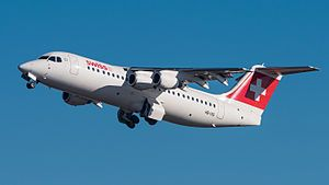 The British Aerospace 146 (also BAe 146) is a short-haul airliner and a regional airliner that was manufactured in the United Kingdom by British Aerospace, later part of BAE Systems. Production ran from 1983 until 2002. Manufacture of an improved version known as the Avro RJ began in 1992. A further-improved version with new engines, the Avro RJX, was announced in 1997, but only two prototypes and one production aircraft were built before production ceased in 2001.