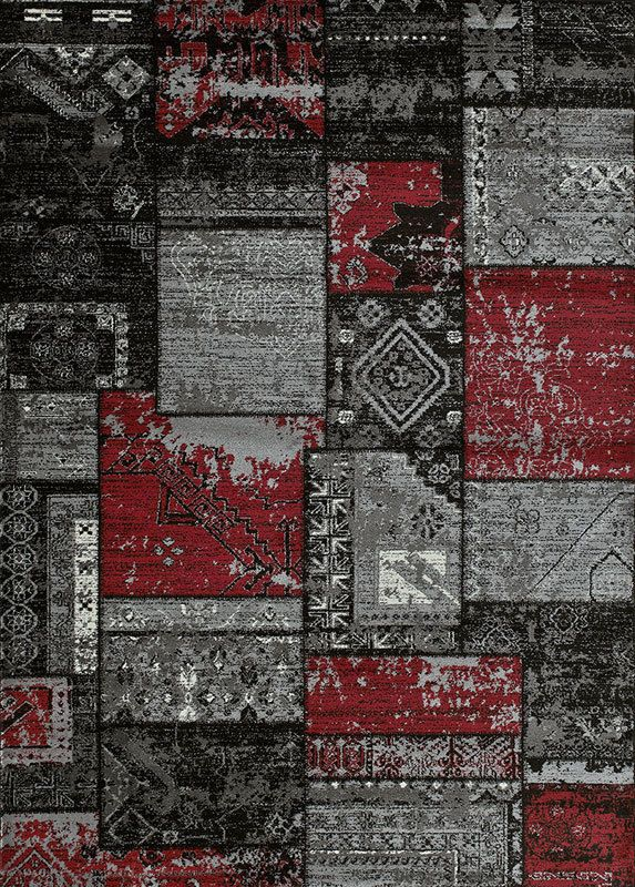 Grey Red Patchwork Contemporary 8x11 Area Rug Graphic
