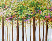 Original Trees Painting Landscape Contemporary Painting , Forest Painting.Abstract tree painting