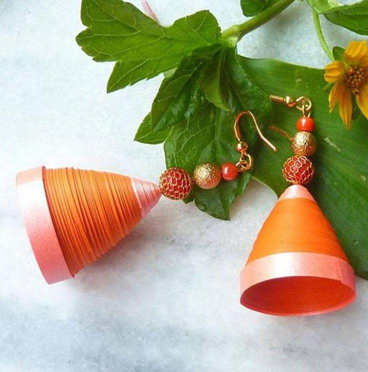 orange beauty- paper jhumka
