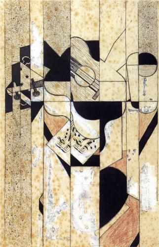 Juan Gris (1887 - 1927) | Analytical Cubism | Guitar and Glass - 1912