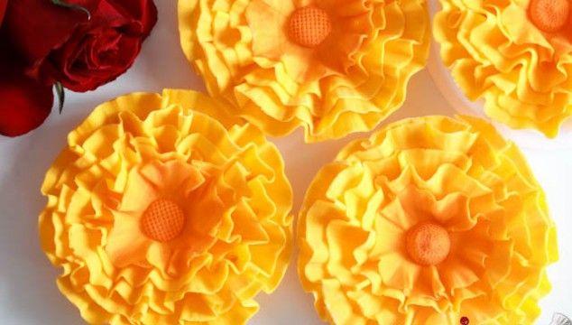 Yellow Fondant Ruffle Flowers