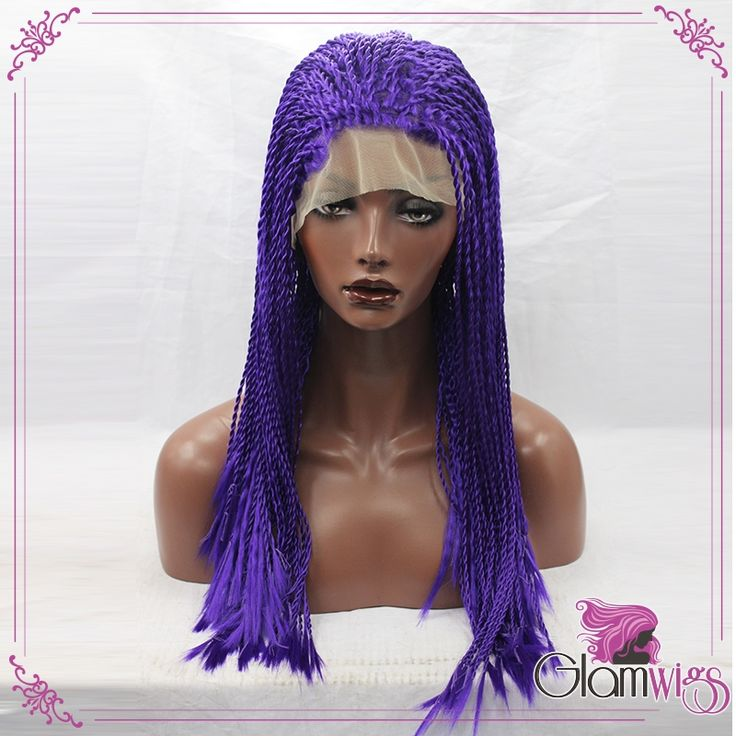 73.99$  Buy now - http://alirl9.worldwells.pw/go.php?t=1000001734008 - Rope Twists Braided Synthetic Lace Front Wig Purple Braiding Hair Heat Resistant Fiber Senegalese Twists Synthetic Braided Wig