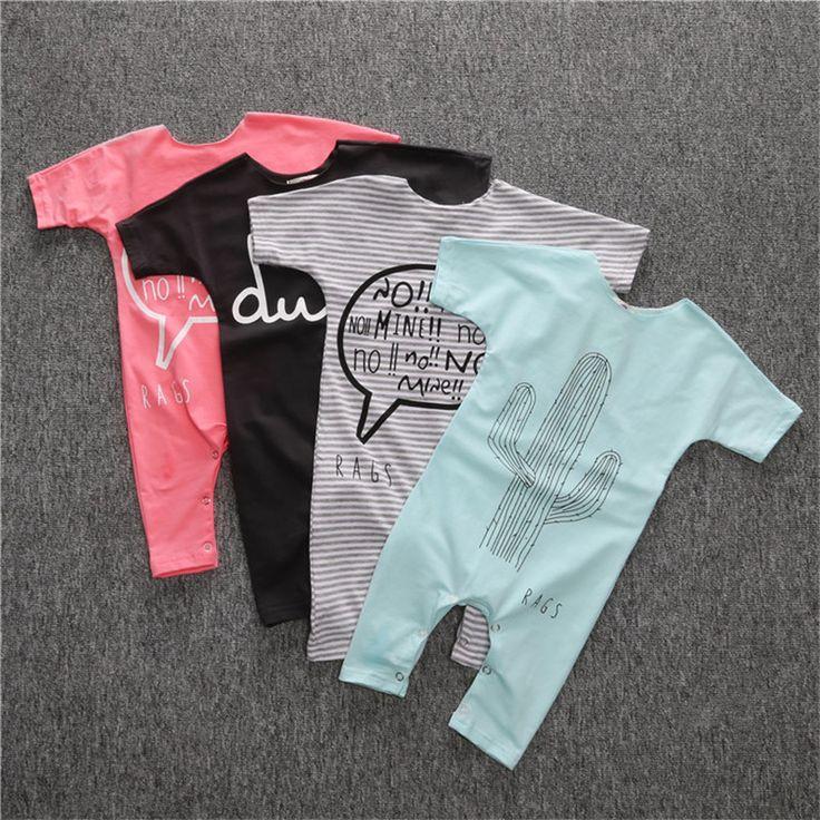 ГОРЯЧИЕ продажа малышей мальчики девочки одежда детская чистый цвет письмо печати Комбинезоны Комбинезон Наряды #shoes, #jewelry, #women, #men, #hats, #watches, #belts