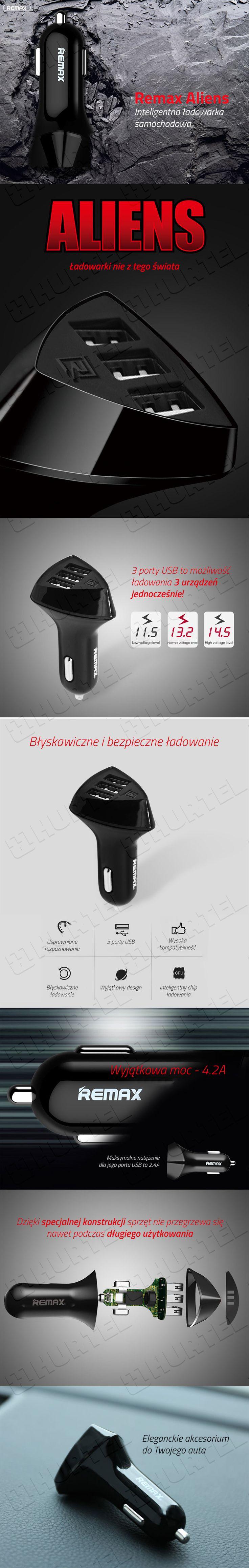 Uniwersalna ładowarka samochodowa 3 x USB Remax RCC-340 Alien 4.2A 1A czarna