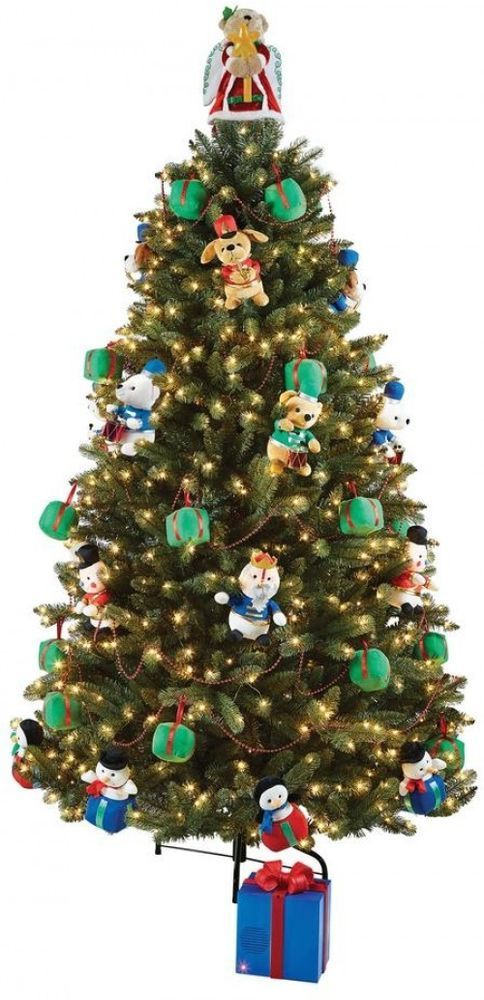Home Accents Holiday 7 5 Ft Artificial Christmas Tree With Musical Animated Christmas Tree Artificial Christmas Tree Holiday