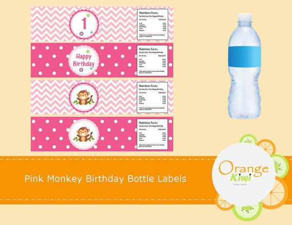 Pink Monkey Birthday Water Bottle Labels Girl by OrangeKiwiDesign