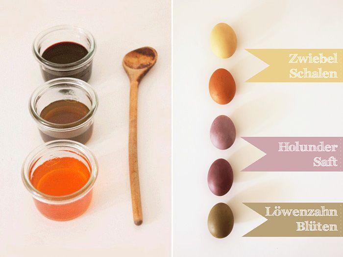 Ostereier mit Pflanzen färbenFür violette Eier lässt Du ca. 200 ml puren Holundersaft und 1 - 2 EL Essig aufkochen und färbst sie auf die gleiche Art, wie gelb und grün.  Wenn Du keinen Holundersaft im Haus hast, kannst Du auch einfach Rote Beete nehmen.  Achtung: Pass gut auf Deine Klamotten auf, denn Flecken sind nicht ausgeschlossen! :)