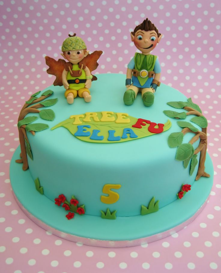Tree Fu Tom birthday cake - Tree Fu Tom birthday cake.  CBBC TV program.  Gumpaste and fondant covered vanilla sponge