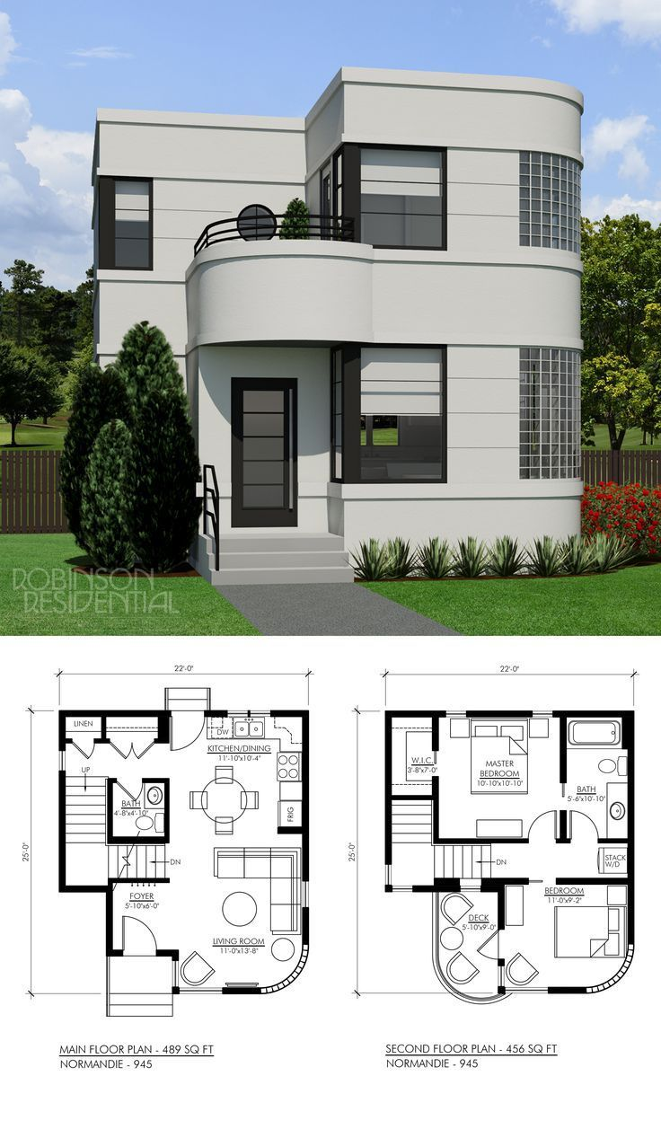 The Contemporary Normandie 945 2 Storey Small Home Plan Is Designed In The Streamline Moderne Style The O House Front Design Simple House Design House Layouts